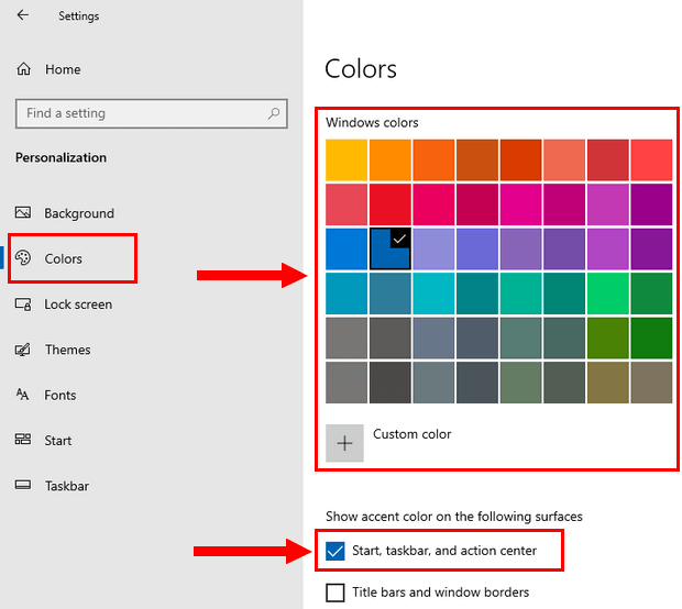 Change the color of the taskbar in Windows 10
