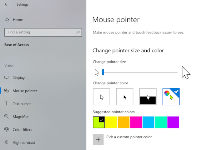 Change the mouse cursor size and color in Windows 10