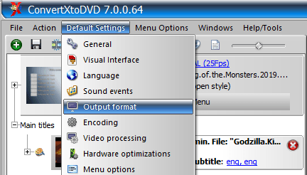 Change video output format in ConvertXtoDVD
