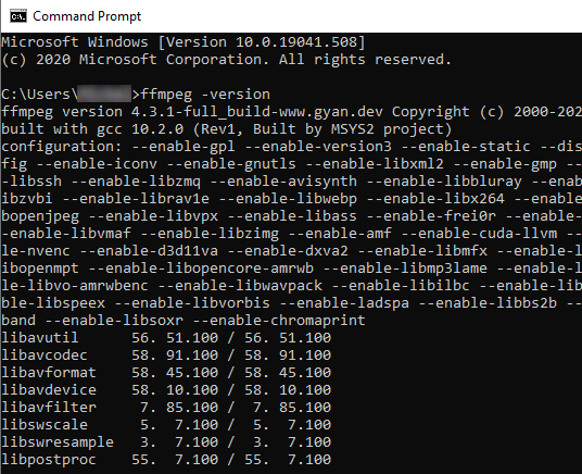 Check if FFmpeg is installed properly in Windows 10
