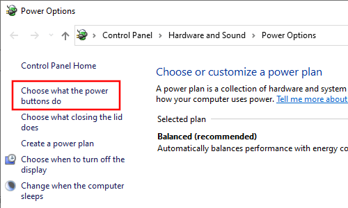 Choose what the power buttons do in Windows 10