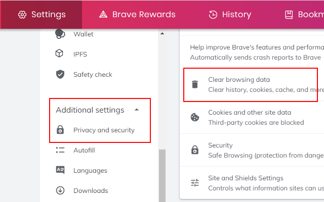 Clear browsing data in Brave browser