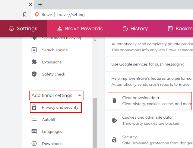 Clear browsing data section in Brave
