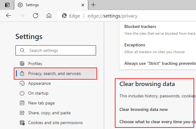 Clear browsing data section in Microsoft Edge