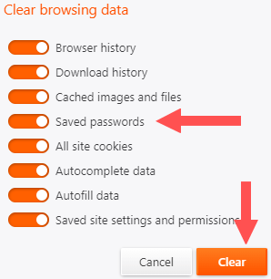 clear web browser's cache, cookies, and history in brave