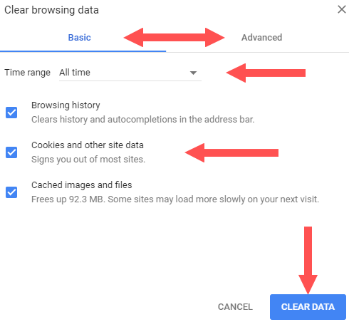 clear web browser's cache, cookies, and history in google chrome