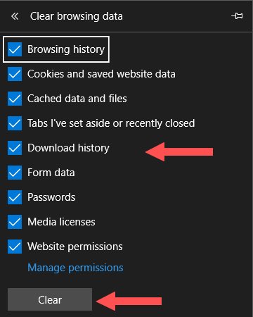 clear web browser's cache, cookies, and history in microsoft edge