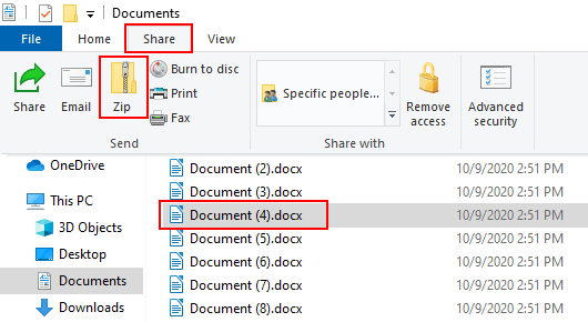 Compress a file or folder into a ZIP file in Windows 10