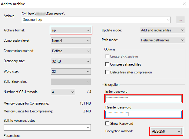 Compress a file or folder into a ZIP file with password protection using 7-Zip