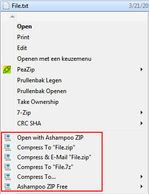 compress files and folders using ashampoo free zip