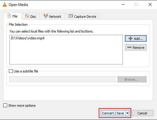 Convert/Save button in VLC media player