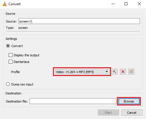 Convert window in VLC media player