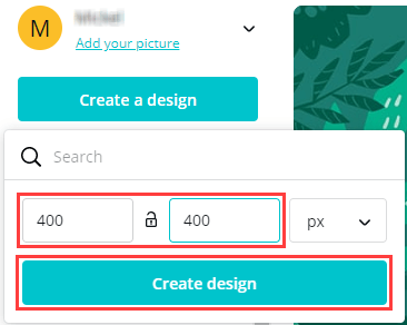 Create a new design on Canva with custom dimensions