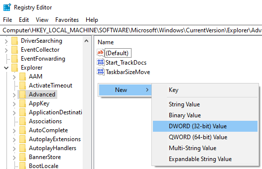 Create a new DWORD (32-bit) Value in Windows Registry Editor