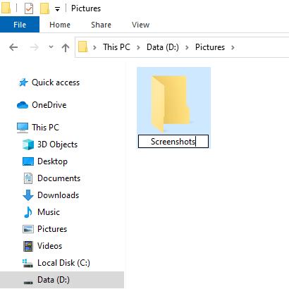 Create a new screenshots folder in Windows 10