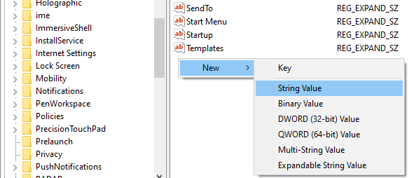 Create a new String Value in Windows Registry Editor