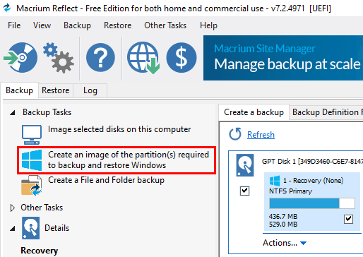 Create an image of the partition(s) required to backup and restore Windows in Macrium Reflect