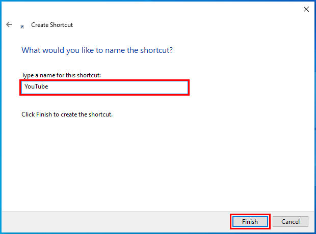 Create an Internet shortcut on the desktop of your PC