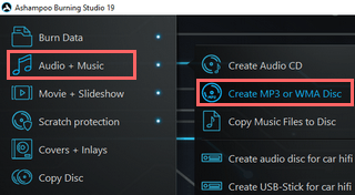 create mp3 disc using ashampoo burning studio