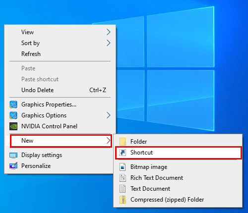 Create a new shortcut in Windows 10