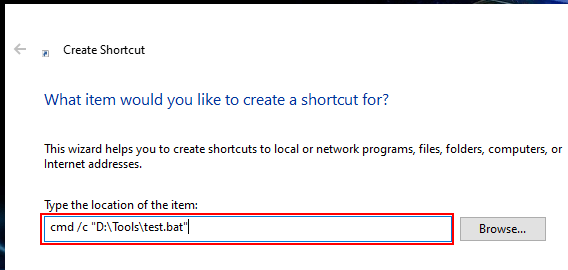 Create shortcut of batch file in Windows 10