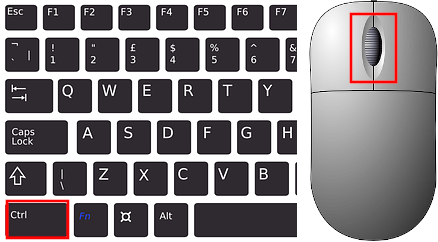 Ctrl keyboard key and mouse scroll button