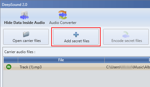 DeepSound Add secret files button