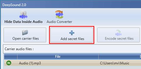 DeepSound Add secret files button