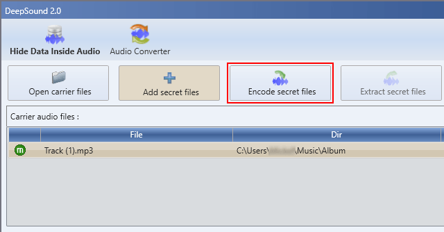 DeepSound Encode secret files button