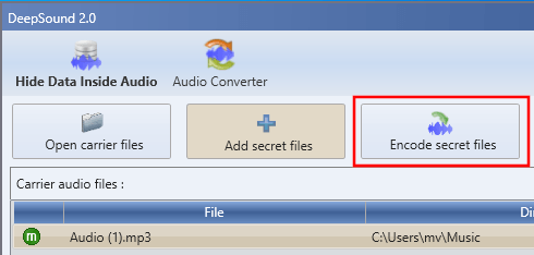 DeepSound Encode secret files button