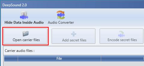 DeepSound Open carrier files button
