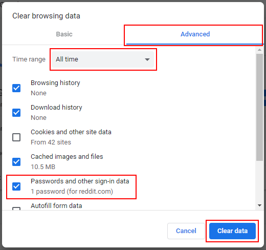 Delete all saved passwords at once in Google Chrome