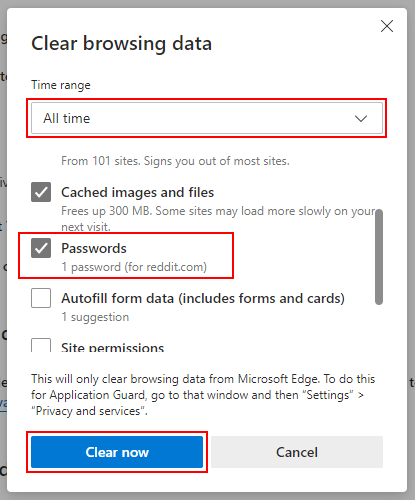Delete all saved passwords at once in Microsoft Edge