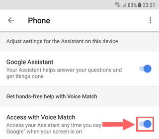 Disable Access with Voice Match
