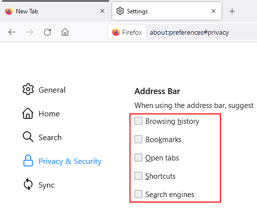 Disable Firefox search suggestions in the address bar