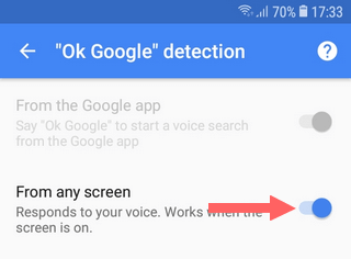 Disable OK Google detection from any screen