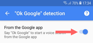 Disable OK Google detection from Google app