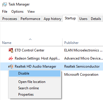 Disable Realtek HD Audio Manager