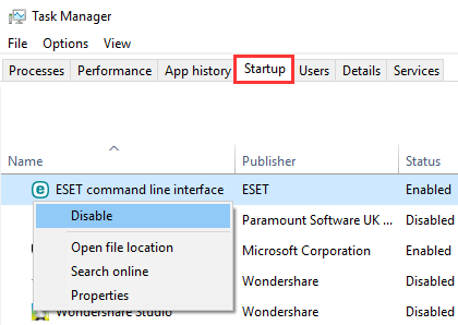 Disable startup programs in Windows