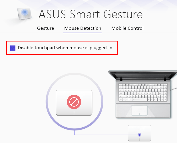 Disable touchpad when mouse is plugged-in on an ASUS laptop