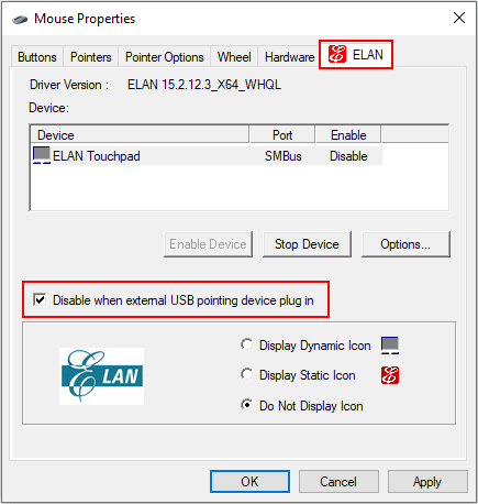 Disable touchpad when mouse is plugged-in on an HP laptop