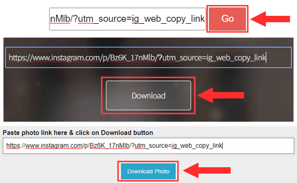 Download buttons of Instagram photo downloaders