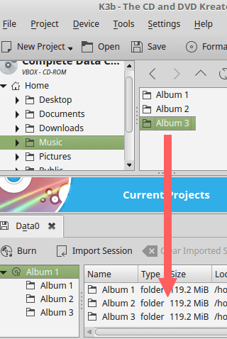 drag and drop files and folders to the burn compilation in k3b