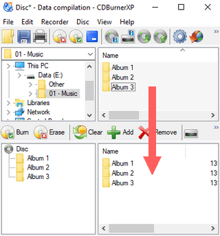 drag and drop files or folders to burn list in cdburnerxp