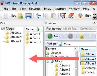 drag and drop mp3 songs and or folders to compilation in nero burning rom
