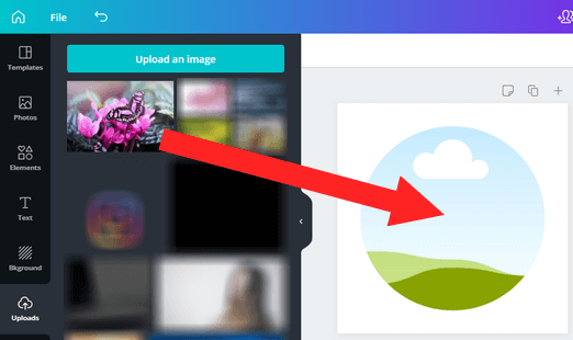 Drag and drop picture into round frame on Canva