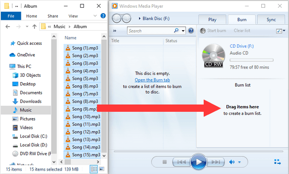 Drag files from File Explorer to Windows Media Player Burn list
