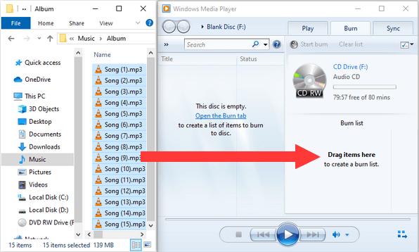Drag MP3 files from Windows Explorer to Windows Media Player Burn list