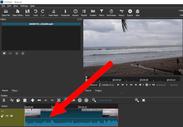 Drag video to timeline in Shotcut