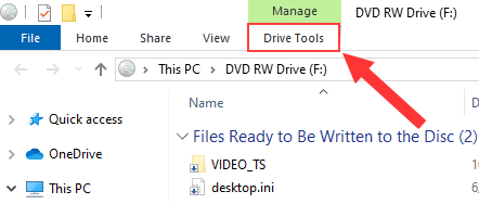 Drive Tools in Windows Explorer